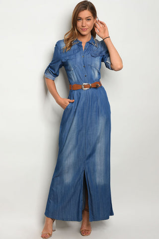 Misses Light Blue Denim Belted Maxi Dress