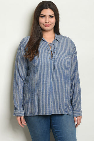 Long Sleeve Denim Plus Size Tunic Top