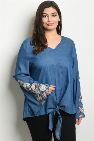 Embroidered Denim Plus Size Top