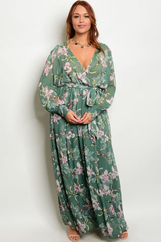 Emerald Green Floral Chiffon Plus Size Maxi Dress