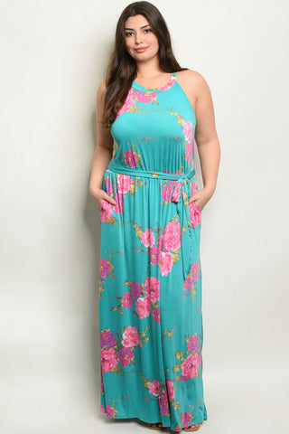 Emerald Green Floral Plus Size Maxi Dress