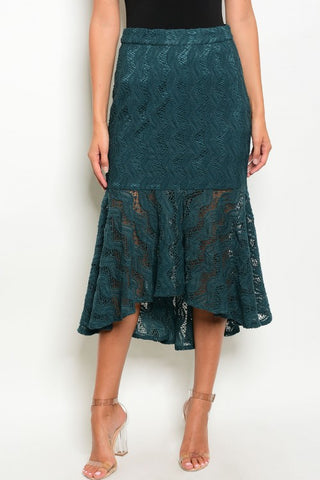 Misses Emerald Green Mermaid Cut Lace Skirt