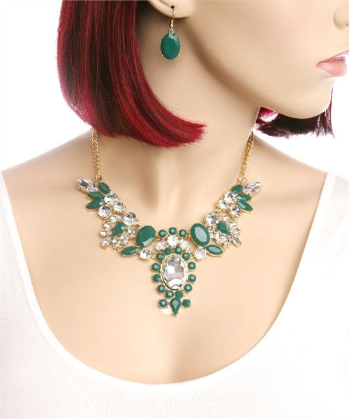 Emerald Faceted Colored Stones Necklace and Earring Set