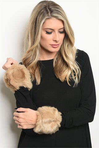 Faux Fur Wrist Cuff Set