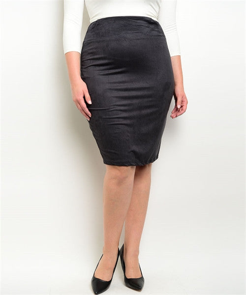 Women's Plus Size Charcoal Black Faux Suede Skirt