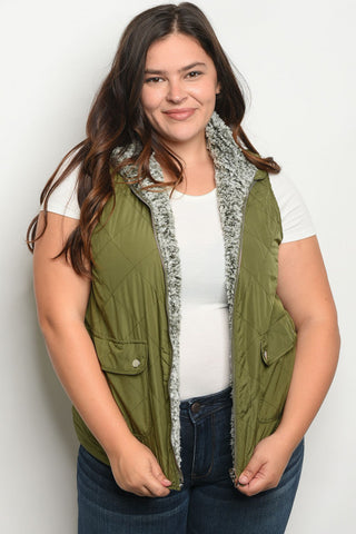 Olive Green Fleece Lined Plus Size Puffer Vest