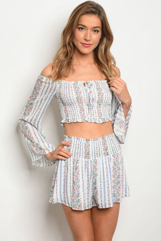 Blue and White Floral Bell Sleeve Crop Top and Shorts Set