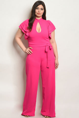 Fuschia Pink Plus Size Jumpsuit
