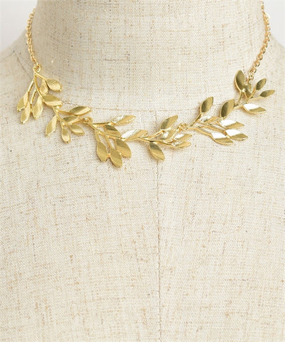 Multi Leaf Chain Necklace Gold Plate Silver Plate