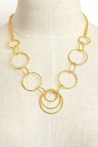 Multi Hoop Chain Necklace Gold Plate Silver Plate