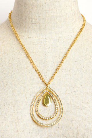 Gold Plate Triple Teardrop Design Necklace