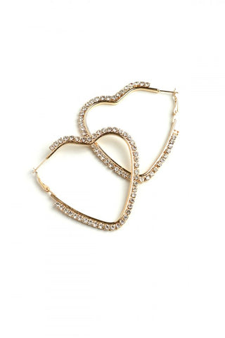 Gold Plate and Rhinestone Heart Hoop Earrings