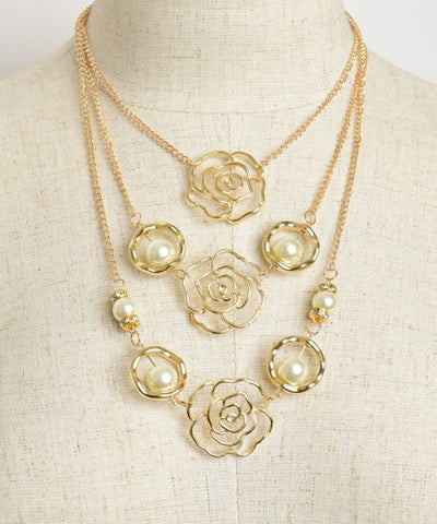 Goldplate Triple Rose and Faux Pear Layered Necklace