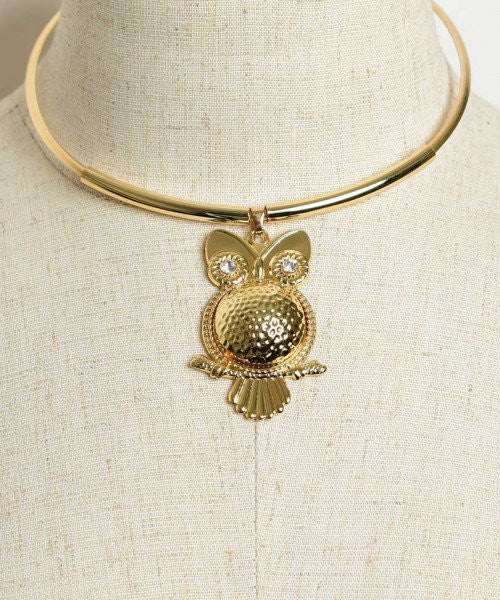 Women's Fashion Goldplated Owl Choker Necklace With Rhinestones