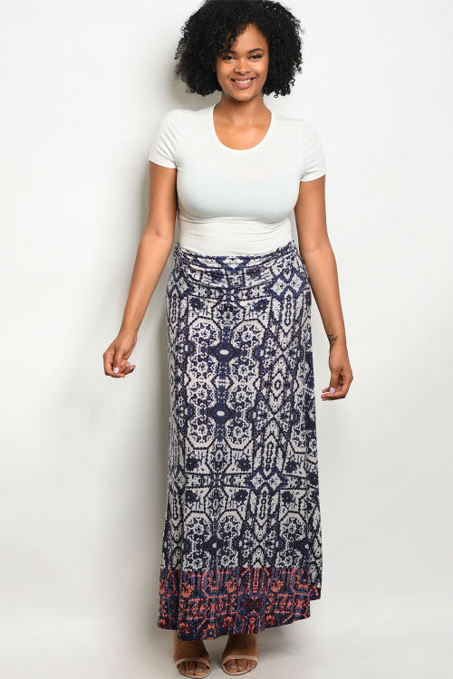 gray and purple plus size maxi skirt