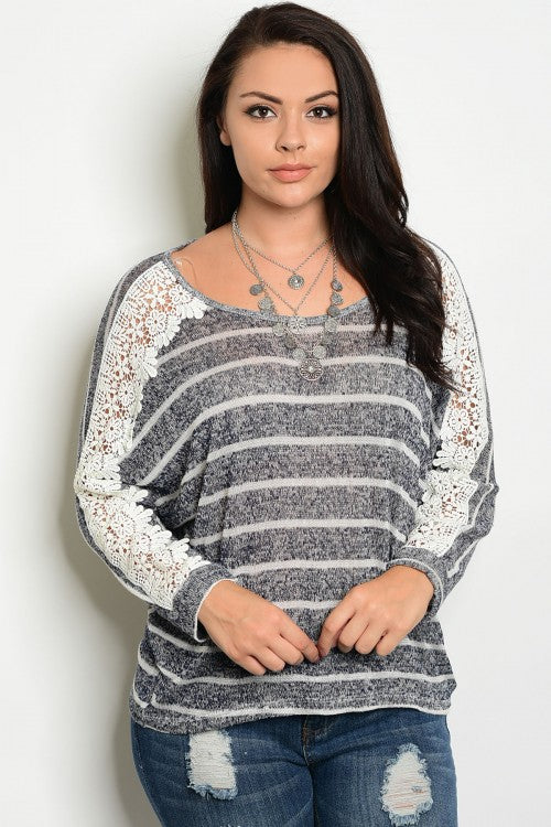 Gray and White Lace Accented Long Sleeve Sweater Top