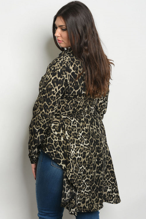 gray animal print plus size top