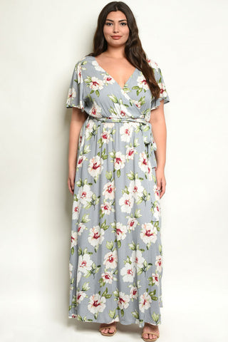 Gray Floral Plus Size Maxi Dress