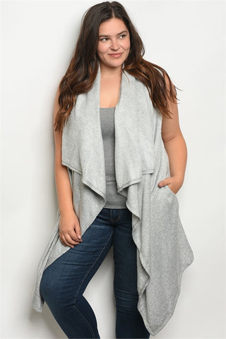 Gray Fleece Lined Plus Size Cardigan Vest