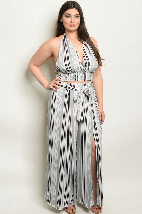gray stripe plus size palazzo pants set
