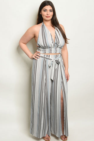 2pc Gray Stripe Plus Size Palazzo Pants Set