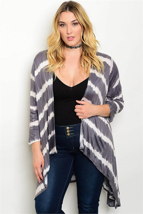 Gray and Ivory Tie Dye Plus Size Cardigan