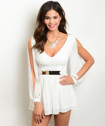 Misses Sexy White Grecian Style Romper with Slit Sleeves