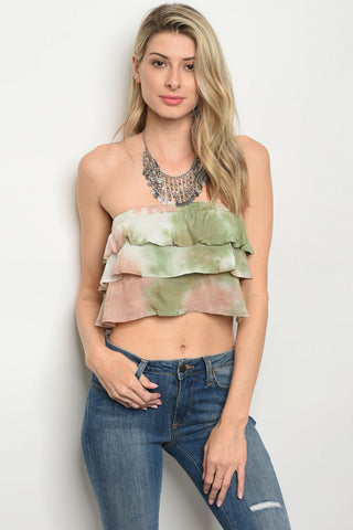 Green and Taupe Ruffled Tie Dye Crop Top