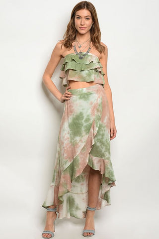 Green and Taupe Tie Dye Crop Top and Maxi Skirt Set