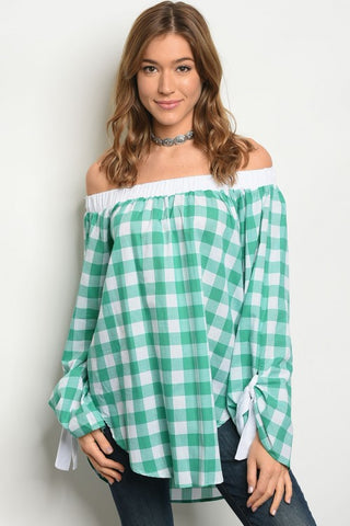 Misses Green and White Gingham Check Off Shoulder Top