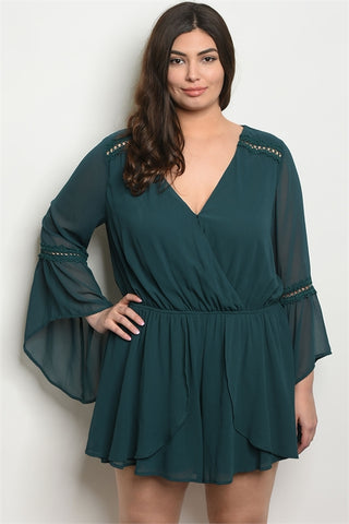 Green Bell Sleeve Lace Accent Plus Size Romper