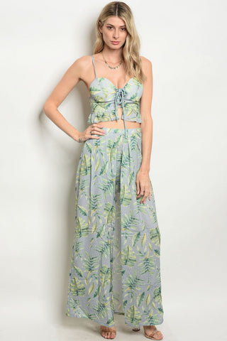 Misses Green and Gray Floral Crop Top and Maxi Skirt Set