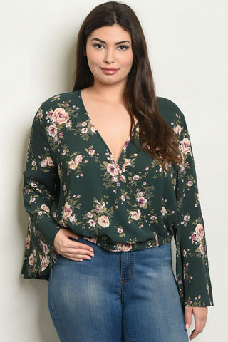 Green Floral Plus Size Bell Sleeve Top
