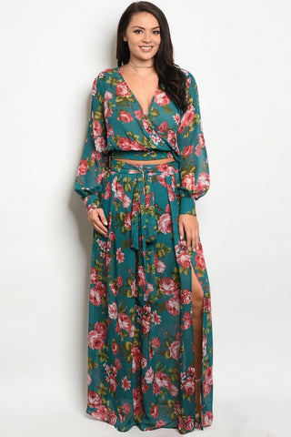 Green Floral Plus Size Chiffon Top and Maxi Skirt Set