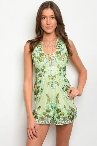 Misses Green Mesh Lace Embroidered Accent Romper