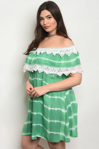 Green Tie Dye Off Shoulder Lace Accent Plus Size Dress