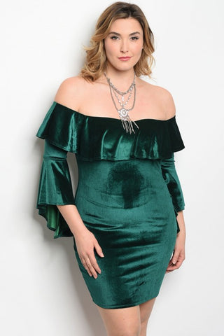 Green Velvet Cold Shoulder Bodycon Dress