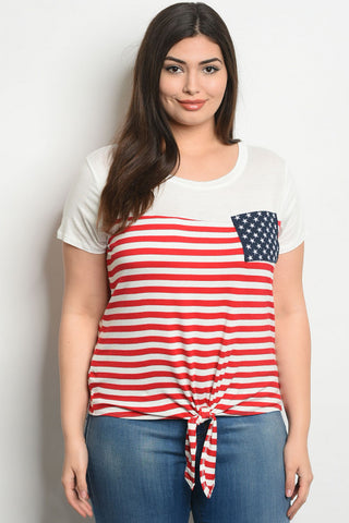 Ivory American Flag Plus Size Jersey Knit T-Shirt