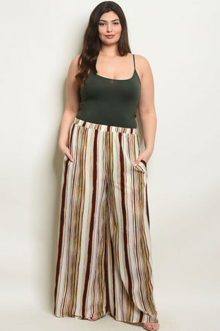 Ivory and Brown Wide Leg Plus Size Palazzo Pants