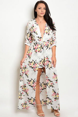 Ivory and Pink Plus Size Floral Romper with Train