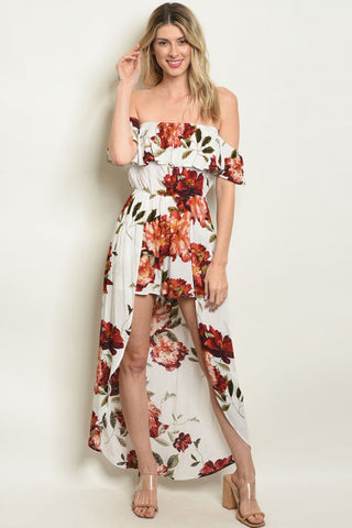 Ivory and Red Floral Cold Shoulder Romper Maxi Dress