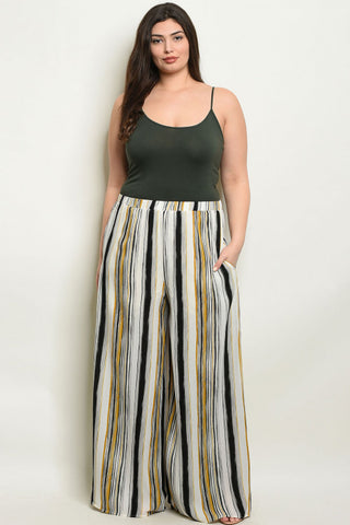 Ivory and Yellow Plus Size Palazzo Pants