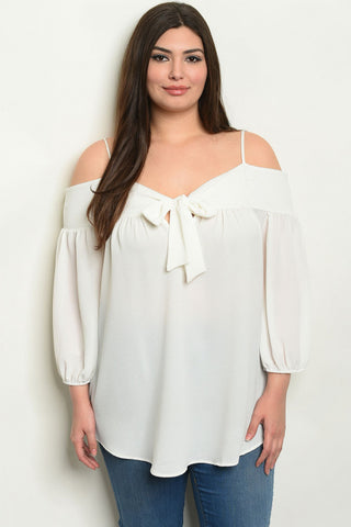 Ivory Cold Shoulder Plus Size Tunic Top