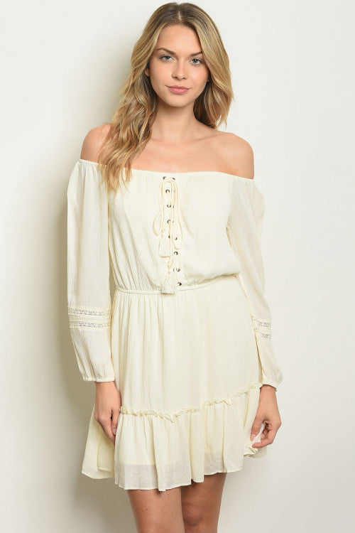 ivory cold shoulder tunic dress