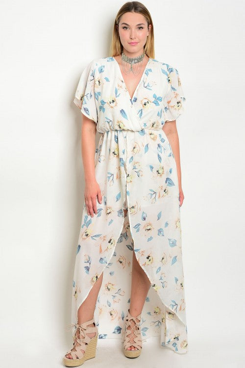 Ivory Floral Plus Size High Low Romper with Train