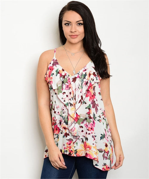 Women's Plus Size Ivory Floral Ruffled Front Tank Top