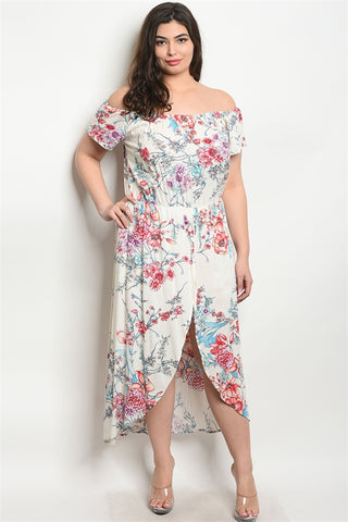 Ivory Floral Cold Shoulder Romper Maxi Dress