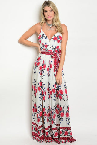Misses Ivory Floral Jumpsuit with Slit Palazzo Bottoms