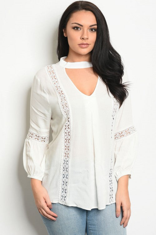 Ivory Long Sleeve Lace Accent Plus Size Top