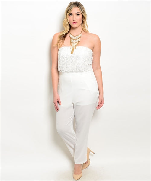 Ivory Strapless Plus Size Jumpsuit with Lace Bodice